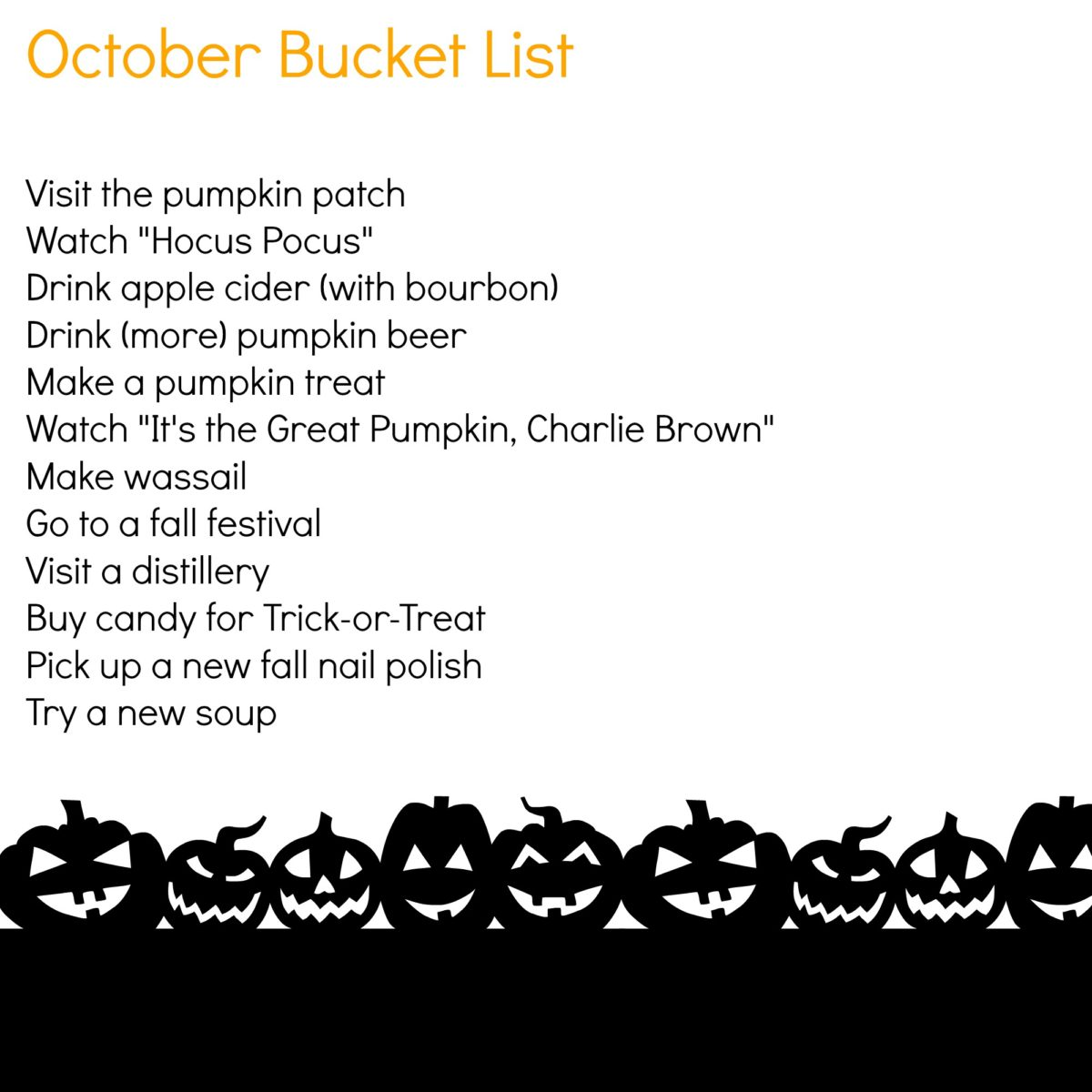 october-bucket-list