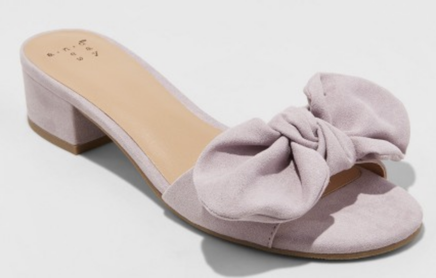 8bf87c3e07 A New Day Knotted Bow Mules in Lavender: The slightest heel. These are  perfect for spring and only $30!